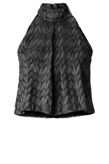 Schwarzes Rollkragen Shirt Anjusta in feinem Strick