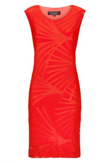 Rotes Kleid Aqueres Fiesta mit Strukturprint