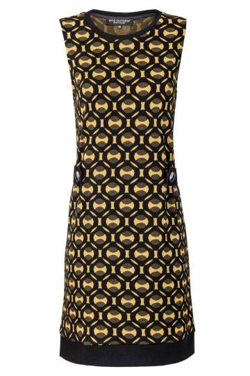 60s Kleid Zelyptis in Gold-Gelb und Schwarz