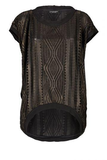 Black Label Shirt Tetys in Schwarz-Gold