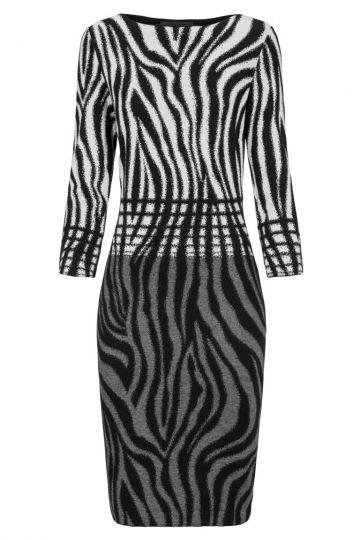 Schwarz-Weißes Bleistift Kleid Dankeora | Ana Alcazar