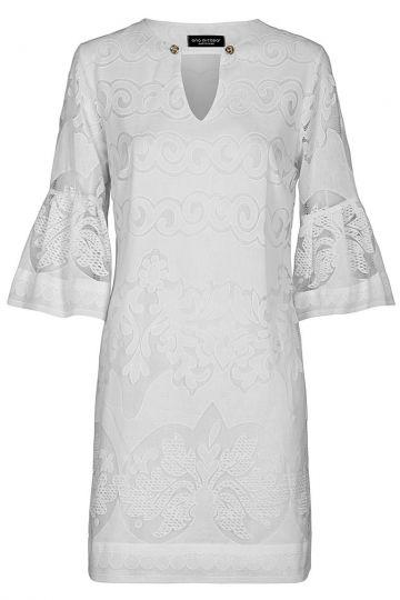 Weißes Tunikakleid Fernanda Volant-Ärmel