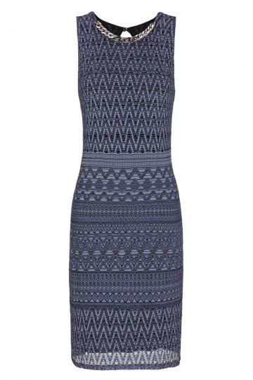 Blau-Lila Häkel A-Linien Kleid Foanis