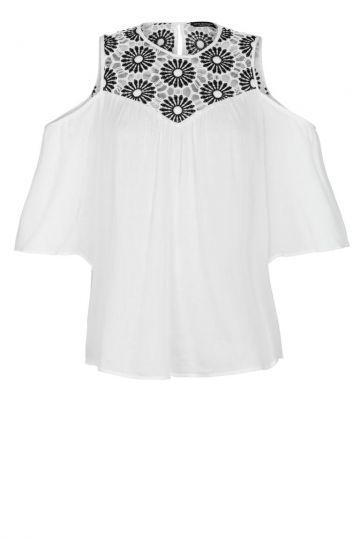 Weiße Offshoulder-Bluse mit Spitze | Ana Alcazar