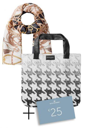 Geschenkset Turino mit Schal, Tasche und Gutschein
