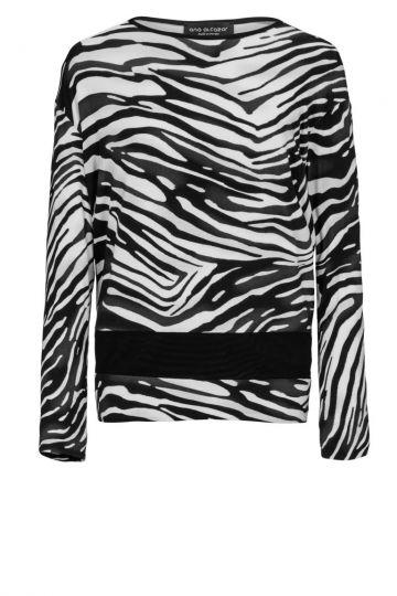 Schwarz-Weißes Longtop Deleon mit Zebra-Print | Ana Alcazar