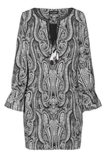 Paisley Tunikakleid in Schwarz-Weiß | Ana Alcazar