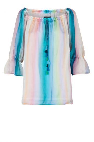 Seiden Carmentop Giselley Regenbogen-Farben