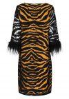 Rear view of Ana Alcazar Tunic Dress Zapos Black-Brown