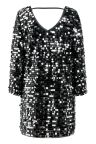 Rear view of Ana Alcazar Glam Sequin Dress Rhetys Black