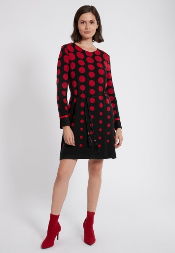 Ana Alcazar Langarm-Kleid Preya Schwarz-Rot