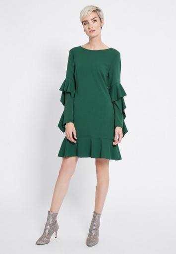Ana Alcazar Volantsleeve Dress Romya Green