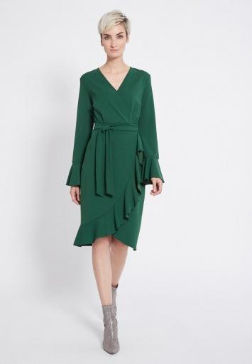 Ana Alcazar Wrap Dress Romela Green