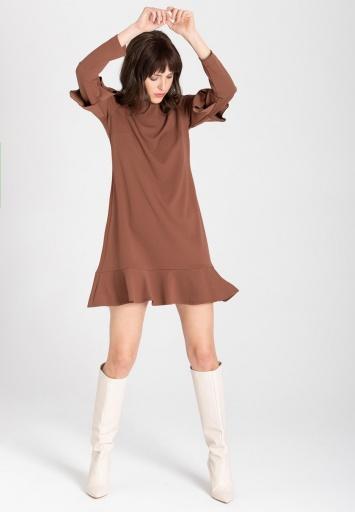 Ana Alcazar Volant Dress Waisea Brown