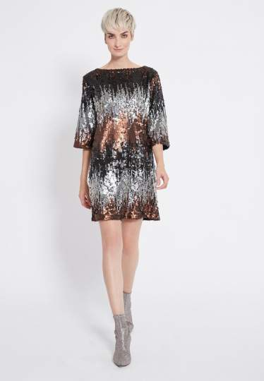Rear view of Ana Alcazar Sequin Dress Rimas