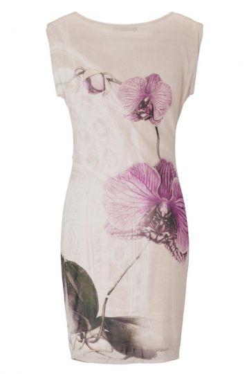 rosa wasserfallkleid gesine orchideen print ana alcazar. Black Bedroom Furniture Sets. Home Design Ideas