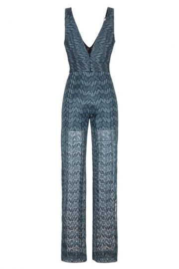 petrol knitted jumpsuit gibellis ana alcazar. Black Bedroom Furniture Sets. Home Design Ideas