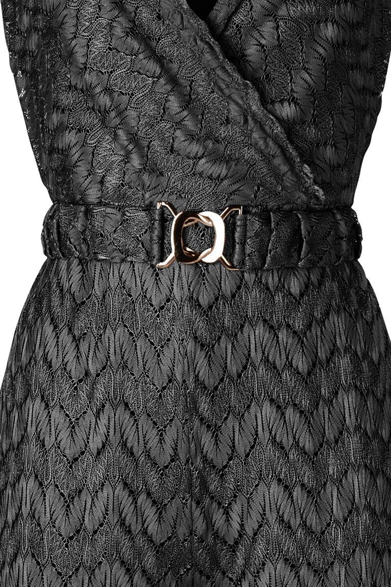 schwarzer jumpsuit in feinem wellen strick ana alcazar. Black Bedroom Furniture Sets. Home Design Ideas