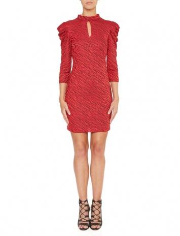 Ana Alcazar Puff Sleeves Dress Kimy Red