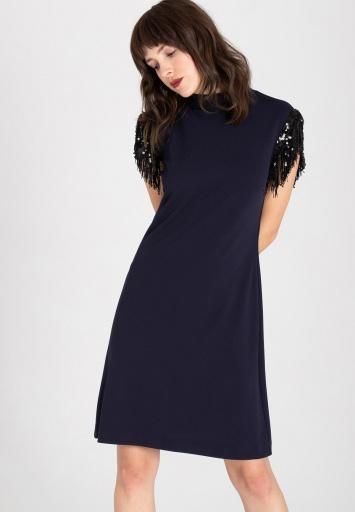 Ana Alcazar Fransen Kleid Waety Blau