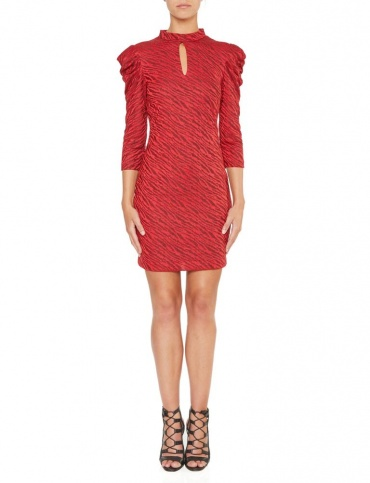 Ana Alcazar Puff Sleeves Dress Kimy Red