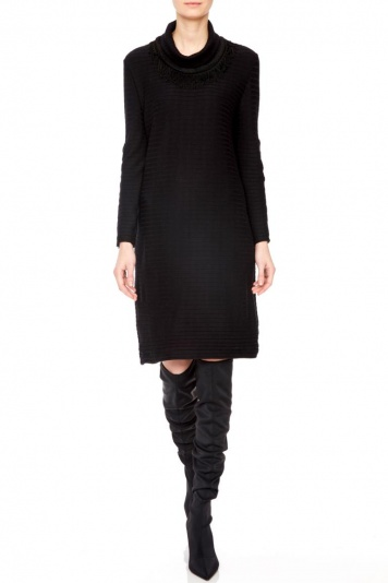 Ana Alcazar Deco Dress Pomeny Black