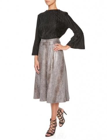 Ana Alcazar Pleated Skirt Koranea Grey