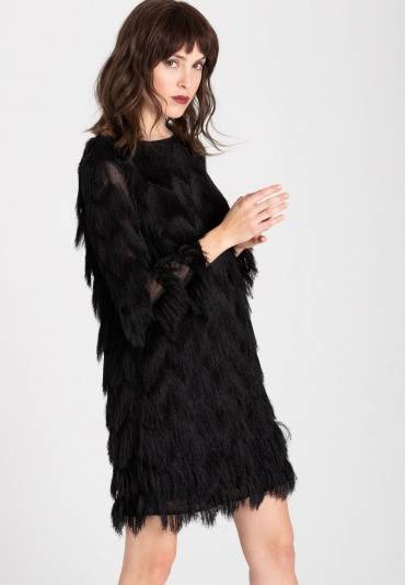 Ana Alcazar Black Label Fringes Dress Wyssle Blacklack