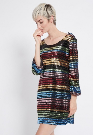 Ana Alcazar Black Label Rainbow Dress Rubea
