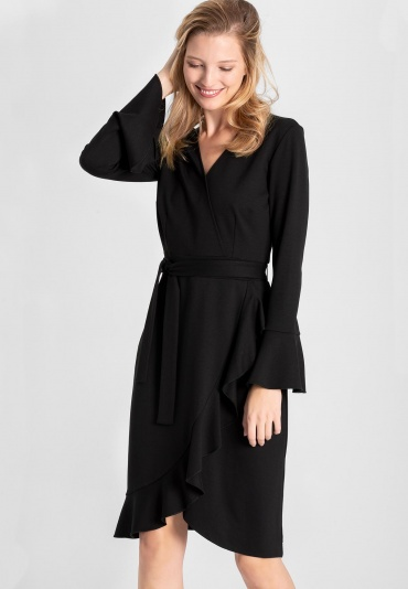 Ana Alcazar Wrap Dress Vafabi Black