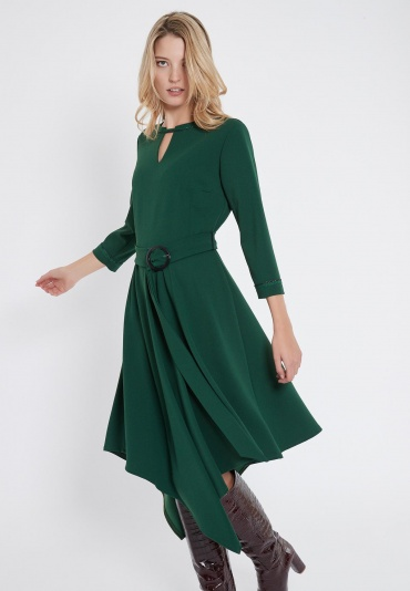 Ana Alcazar Belt Dress Vafetos Green