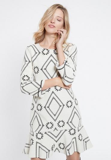Ana Alcazar Volant Kleid Vafomis Weiß