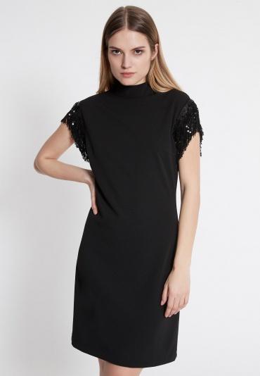 Ana Alcazar Fransen Kleid Waeta Schwarz