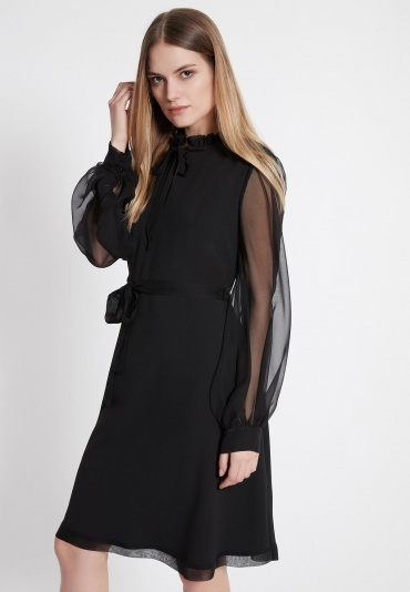 Ana Alcazar Chiffon Dress Waeby Black