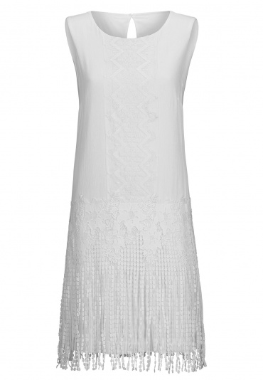 ana alcazar White Laced Dress Beanca