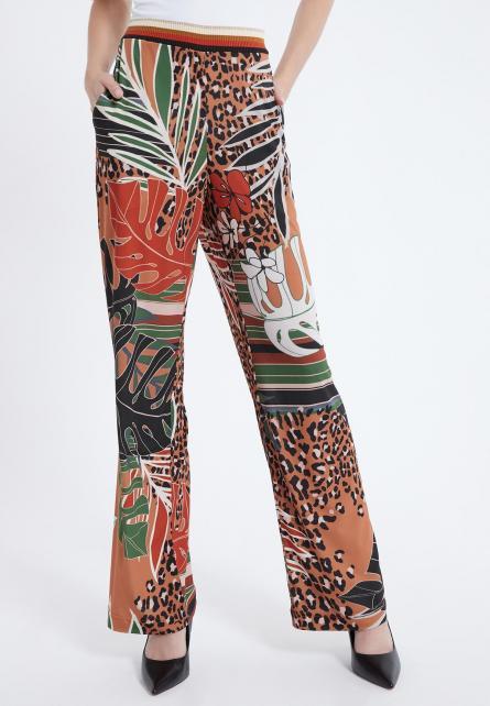 Lange broek Ataly in bruin greon met jungle print | Ana Alcazar