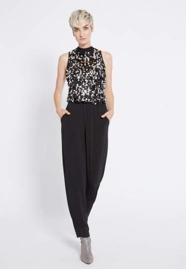 Front of Ana Alcazar Glam Sequin Jumpsuit Rhetea Black  worn by model