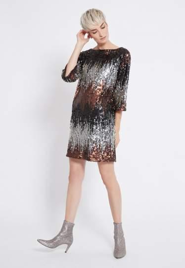 Front of Ana Alcazar Sequin Dress Rimas  worn by model