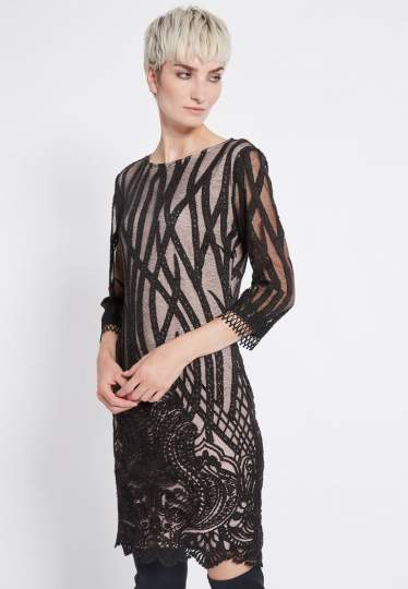 Front of Ana Alcaza Lace Dress Ranjea  worn by model