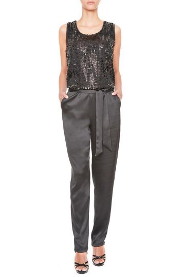 black jumpsuit with sequin top ana alcazar. Black Bedroom Furniture Sets. Home Design Ideas