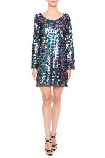 Vorderansicht von Ana Alcazar Black Label Pailletten Minikleid Juvendy  angezogen an Model