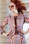 Rear View of ana alcazar Costume Jacket Alizabeth  worn by model