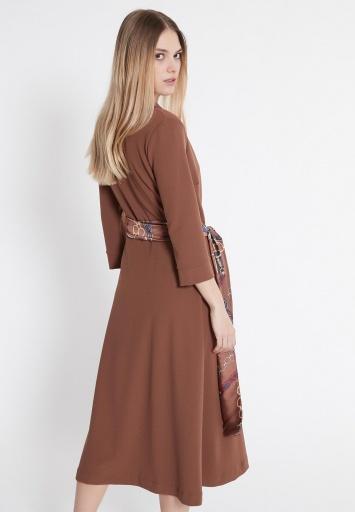 Ana Alcazar Wrap Dress Vafeisy Brown