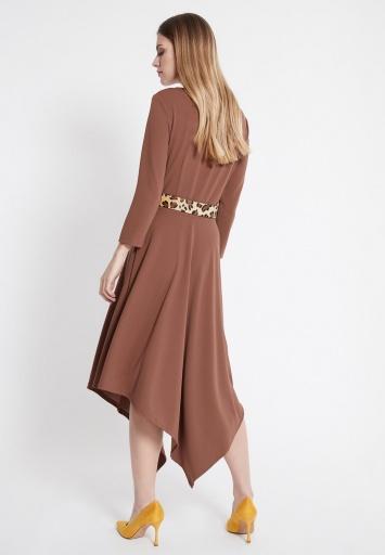 Ana Alcazar Midi Dress Walore Brown