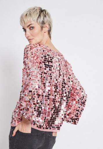 Ana Alcazar Glam Sequin Top Rhety Rose