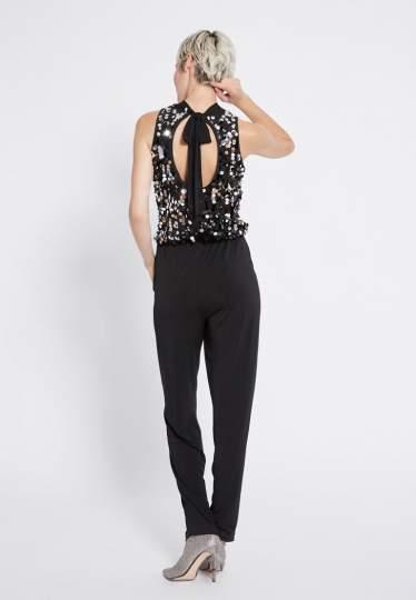 Rear view of Ana Alcazar Glam Sequin Jumpsuit Rhetea Black  worn by model