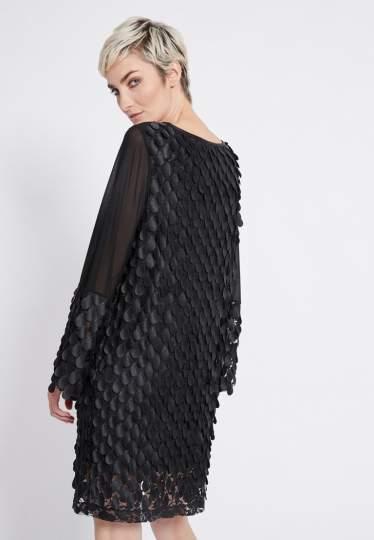 Rear view of Ana Alcazar Longsleeve Dress Rikyas  worn by model