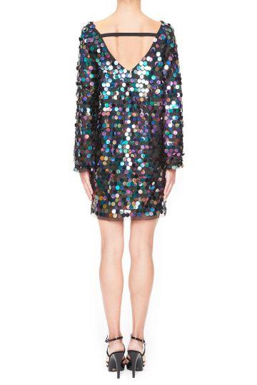 Rückansicht von Ana Alcazar Black Label Pailletten Minikleid Juvendy  angezogen an Model