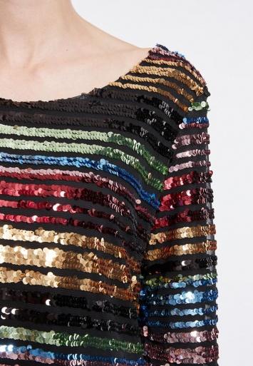 Ana Alcazar Black Label Rainbow Dress Rubea