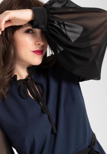 Ana Alcazar Chiffon Kleid Waery Blau